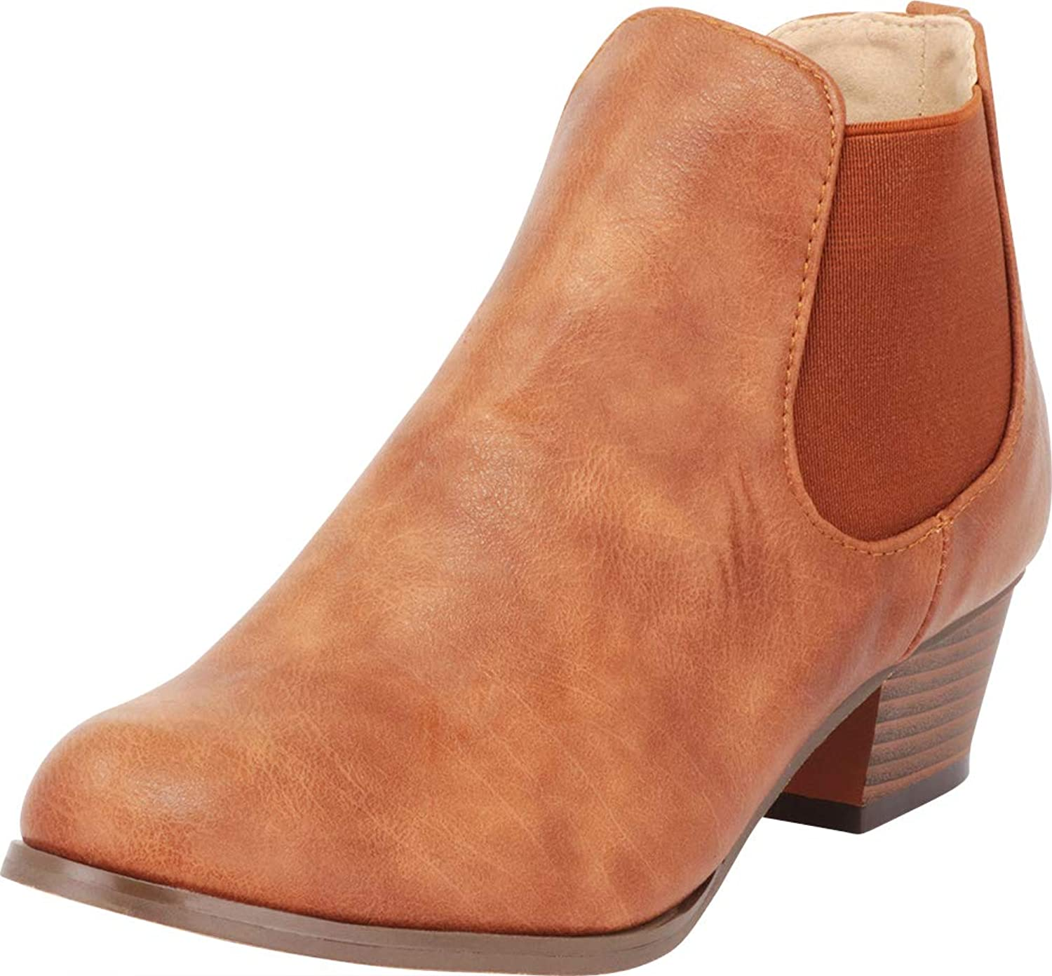 Cambridge Select Women's Chelsea Stretch Chunky Stacked Block Heel Ankle Bootie