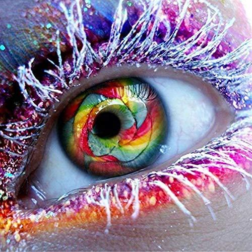 Lazodaer - Kit de pintura de diamante 5D para adultos, con diamantes de imitación, para decoración del hogar, ojos de colores y pestañas plateadas, 30 x 30 cm