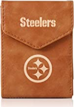 FANNTIME Industries NFL Wallet Laser Engraved Tri-Fold Wallet for Men, Crazy Horse Leather, Brown, 3.93 x 2.95 inches