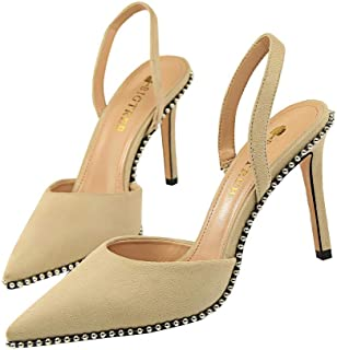 29daf75c Tacón Alto de Gamuza Sandalias Tacón de Aguja Moda Mujeres Remache Correa  Trasera Zapatos Alto 9CM