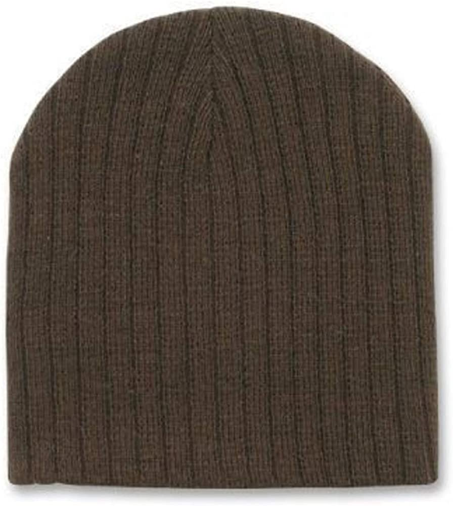 DECKY Brown Cable Beanie Stocking Cap Winter Stocking Hat Biker Skully Ribbed