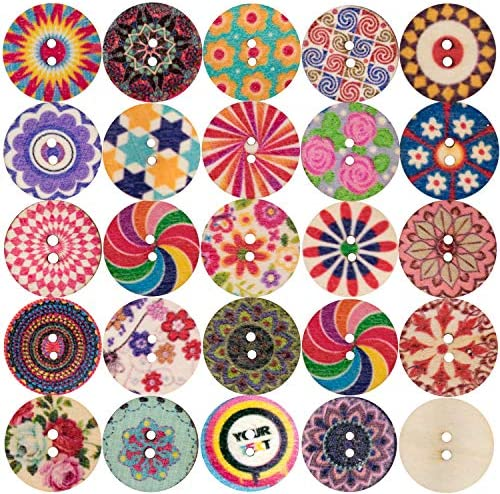 100PCS Assorted Floral Printed Wooden Sewing Buttons with Mixed Color Retro Style Pattern Vintage product image