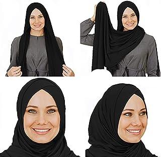 وشاح من القطن، حجاب اسود جاهز، اكسسوارات جاهزة للمراة المحجبة