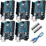 AZDelivery 5 x Microcontrolador ATmega328P Tarjeta Placa de desarrollo con Cable USB compatible...