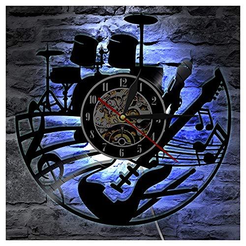 OLDFAI Vinyl Schallplatte Wanduhr, LED Muster Logo Mit Musik-Schlagzeug 3D Design Silent Familien Dekorative Uhren Kunst Geschenk Für Wohnzimmer Küche Wand-Deko,with led
