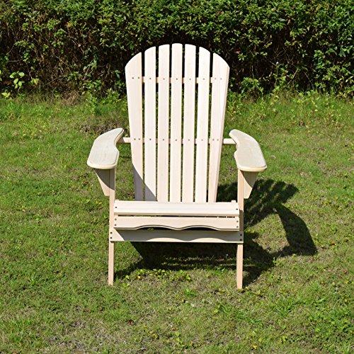 Merry Garden Foldable Wooden Adirondack Chair, Outdoor, Garden, Lawn, Deck Chair, Natural