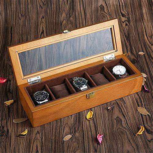Caja De Reloj De Madera Caja De Soporte De Reloj para Relojes Hombres Caja Organizadora De Joyas con Tapa De Vidrio Organizador De Relojes (Color: B) (Color: A)