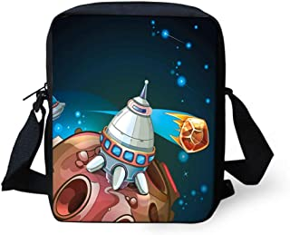 Messenger Bag,Unisex,Spacecraft Planets Outer Space Theme Cute Rocket Stars Galaxy Cosmic Illustration.9x8x2inches