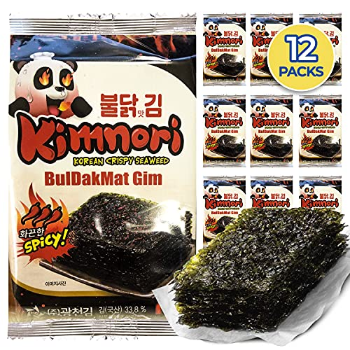 Kim Nori Seasoned Seaweed Snacks - Flaming Hot Spicy Flavor 12 Individual Packs Korean Crispy Roasted Sheets Natural Laver 5g 0.17 Ounce 김 のり 海苔 紫菜