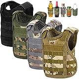 Accmor Beer Vest Tactical Holder, 4 Pcs Mini Vest Tactical Coozy, Adjustable Molle Drink Holder Vest Beverage Cooler for 12oz 16oz Cans & Bottles, Cool Beverage Bottle Decoration