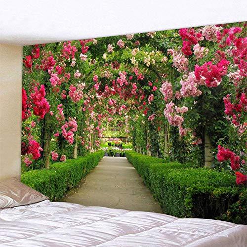 HAODGUO Tapiz de Camino de Flores arqueadas, Tapiz de Mandala Indio, tapices para Colgar en la Pared, Tapiz Bohemio de Pared del Dormitorio, Alfombra de sofá, Manta de