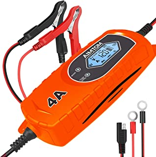 AIMTOM Smart Battery Charger 4 Amp 6/12V Fully Automatic Maintainer 8-Stage Charging Process for Car, Truck, Motorcycle, B...