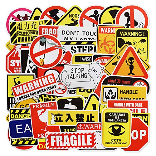 Laptop Stickers, Computer Stickers for Laptop Water Bottles Hydro Flask Car Bumper Skateboard Guitar Bike Luggage Waterproof Vinyl Decals Cool Graffiti Stickers Pack (50 Pcs Warning Sign Stickers)