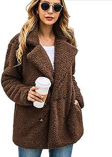 Women Winter Warm Open Front Fleece Outwear Cardigan Jacket Coat with Pockets