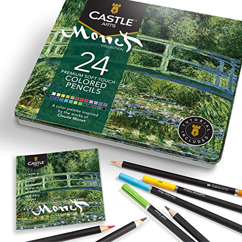 Castle Arts Themed 24 Colored Pencil Set in Tin Box, perfect 'Monet' inspired colors. Featuring, smooth colored cores, superior blending & layering performance achieving great results