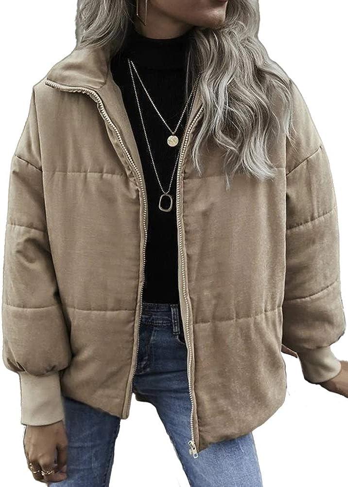 BZB Womens Lapel Zip Up Puffer Jacket Cotton-Lined Drop Shoulder Coat