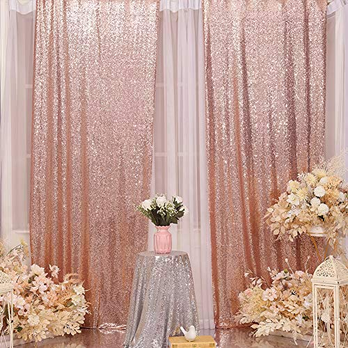 Sequin Backdrop Curtain Eternal Beauty Glitter Sequin Background for Wedding Party Decor (2 Panels, W2 x H8FT,Rose Gold)