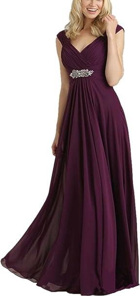 Yasiou Damen Traube A Linie Chiffon Ballkleider Partykleider Brautjungfernkleider Abendkleider Grosse Grossen Lang Elegant Fur Hochzeit Amazon De Bekleidung