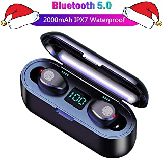 Bluetooth Earbuds, [Upgraded],5.0 Earbuds with 2000mAh Charging Case LED Battery Display 60H Playtime in-Ear Touch Bluetooth Headset IPX7 True TWS Wireless Earbuds for Work Sports, Black