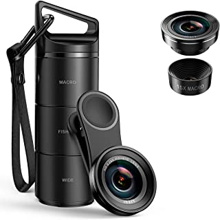[Upgraded Version] Criacr Phone Camera Lens, 3 in 1 Cell Phone Lens Kit for iPhone, Samsung, 180°Fisheye Lens + 0.6X Wide ...