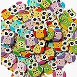 Uteruik - Botón de Madera con diseño de búho para Costura, Manualidades, 2 Agujeros, Colores Mezclados, 100 Unidades (n-#2)