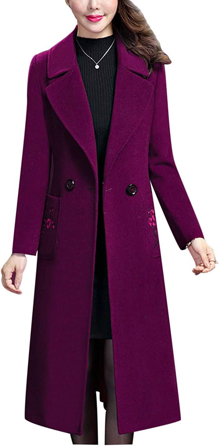Uaneo Women's Casual Slim Lapel Collar Double Breasted Mid Long Woolen Pea Coats(Purple-XL)