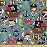 Ambesonne Pirates Fabric by The Yard, Pattern of Pirate Ships in The Sea Adventure Nautical Theme Cartoon Characters, Decorative Fabric for Upholstery and Home Accents, 2 Yards, Teal