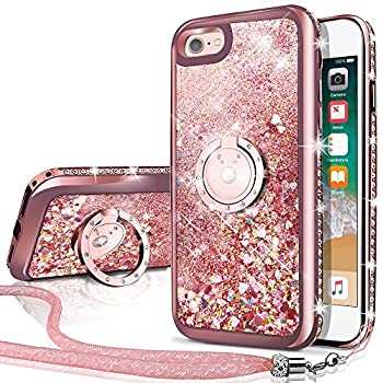 Silverback iPhone SE 2020 Case iPhone 7 Case iPhone 8 Case Moving Liquid Holographic Sparkle Glitter Case with Kickstand Bling Bumper Ring Protective Apple iPhone SE2 8/7 Case for Girls Women -RD