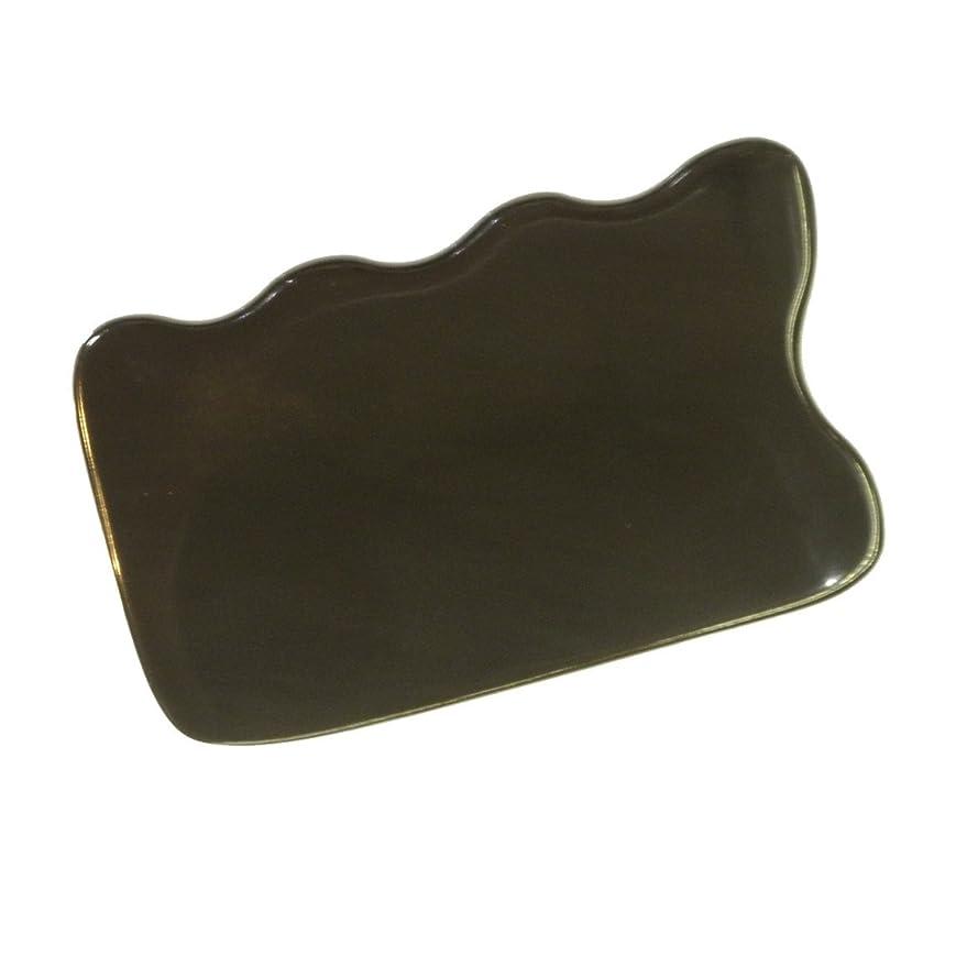トライアスリート記述する平衡かっさ プレート 厚さが選べる 水牛の角(黒水牛角) EHE220 四角波 一般品 厚め(7ミリ程度)