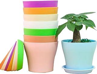 8 Pezzi Vaso di Fiori balcone Colorati vasi in Plastica per Fiori, per Arredo Casa, Giardinaggio, Vasi da Fiori per Intern...