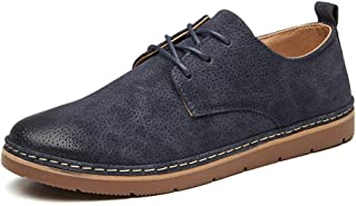 Bin Zhang Men's Fashion Oxford Casual Comfortable Soft Retro Lace Up Formal Shoes (Color : Blue, Size : 8 UK)