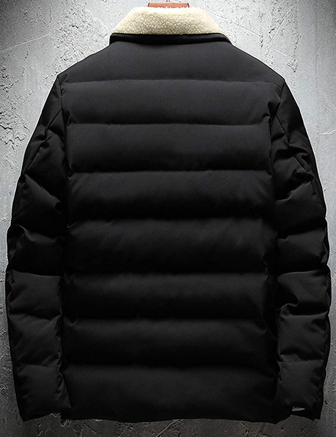 Springrain Men's Winter Casual Sherpa Collar Jacket Cotton Quilted Puffy Coat