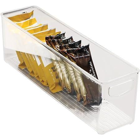 iDesign bac rangement frigo, petite boîte alimentaire spacieuse en plastique, boîte conservation alimentaire à poignées, transparent