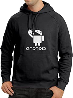 Hoodie Android Eating The Apple - I Love Cool tech Gadgets, Geek Nerd Humor (XX-Large Black White)