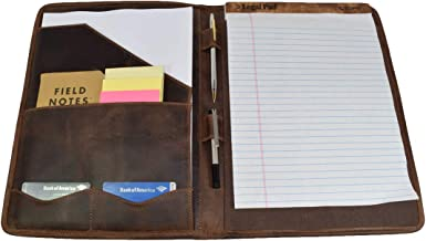 Hide & Drink, Leather Professional Portfolio/Document Folder Organizer Padfolio / A4 Writing Pad w/Pen & Card Holder Handmade :: Bourbon Brown