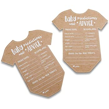Kate Aspen Baby Prediction/Advice Card, (Set of 50) Shower Game, One Size, kraft, white