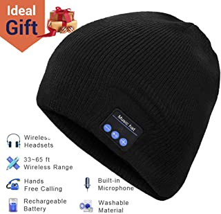 Bluetooth Beanie, Mens Gifts, Bluetooth Hat, Bluetooth Beanie Hat with Bluetooth 5.0, Built-in Stereo Mic, Fit for Outdoor Sports, Washable, Gifts for Men Women, Christmas Thanksgiving Day Birthday