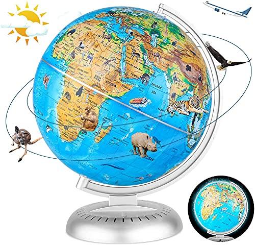 Fun Lites 20Cm LED Illuminated Animal World Globe Educational Political Map Swivel Rotating Animal Earth Globe Cable FreeNight Light Lamp Globe for Kids Learning Children for School, Home, Office