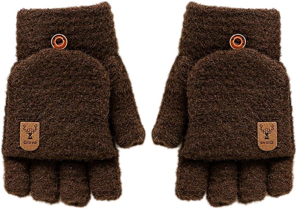 Lnrueg Men Winter Gloves Thick Warm Convertible Fingerless Gloves Knit Gloves Flip Top Gloves with Mitten Cover Man