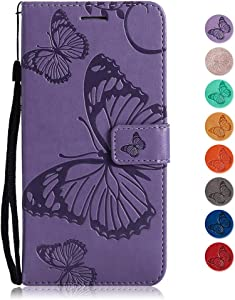 GORASS case for Samsung Galaxy Duo  Wallet Case Soft Leather Butterfly Embossed Design Case with Kickstand Function Card Holder and Slot Slim Flip Protective Skin Cover  Purple