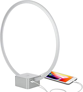 Brightech Circle - LED Modern Bedroom Nightstand Lamp - Super Bright Bedside Table Reading Light, Dimmable to Night Light - G