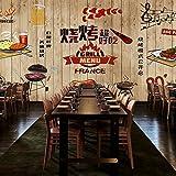 Vlies Tapete Wandbilder Retro Personality Creative Murals Barbecue Buffet Background Wallpaper Overalls Wood Graffiti Wallpaper