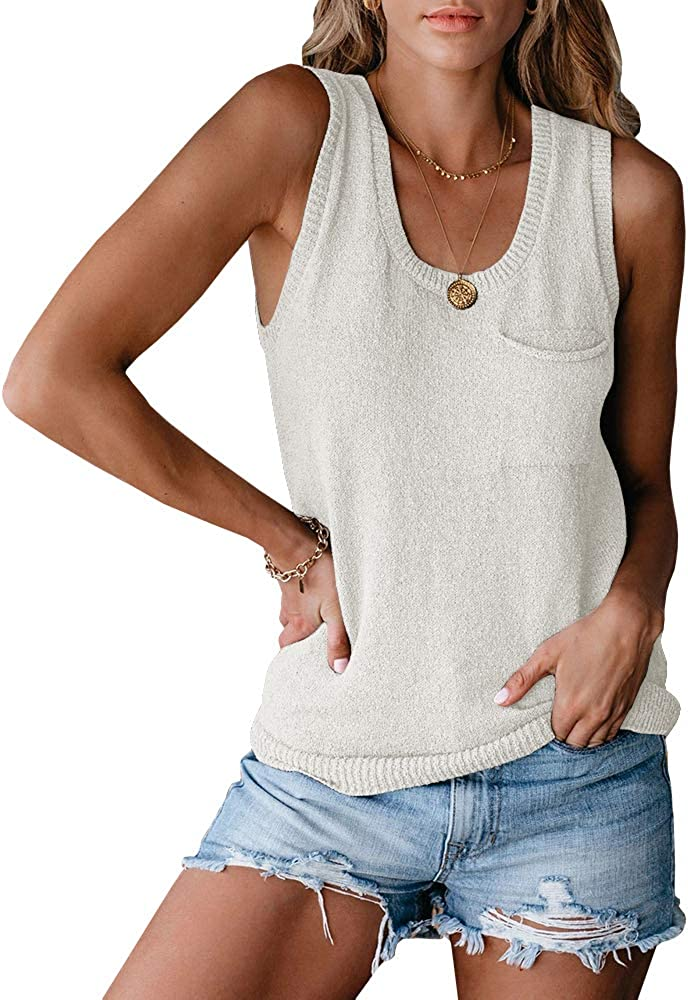 Foshow Womens Scoop Neck Sleeveless Tank Tops Loose Button Knit Summer Sweater Vest Shirt Blouses Pocket
