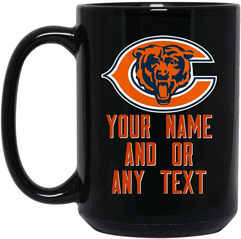 Custom Personalized Chicago Bears Coffee Mug Bears Logo Mug V2 15 Oz Black Ceramic Mug Cup Great For Tea And Hot Chocolate NFL NFC National Football League Perfect Gift For Any Chicago Bears Fan