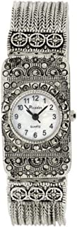 Women's Picador Marcasite White Face Wrist Watch in Antique Metal Finish Analog Quartz Fold Over Clasp Extra Battery