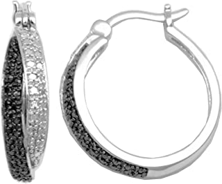 Square and Round Clear CZ Rhodium-Plated Sterling Silver Half Hoop Post-Back Earrings