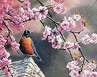 番号によるDiyペイント番号付きツールキットによる油絵絵筆で木の油絵の上に立っている鳥と花