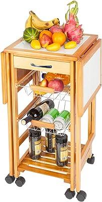 Amazon Com Goobest Portable Rolling Drop Leaf Kitchen Island With Storage Drawer 2 Baskets Kitchen Trolley Cart Small Kitchen Table Sapele Kitchen Islands Carts