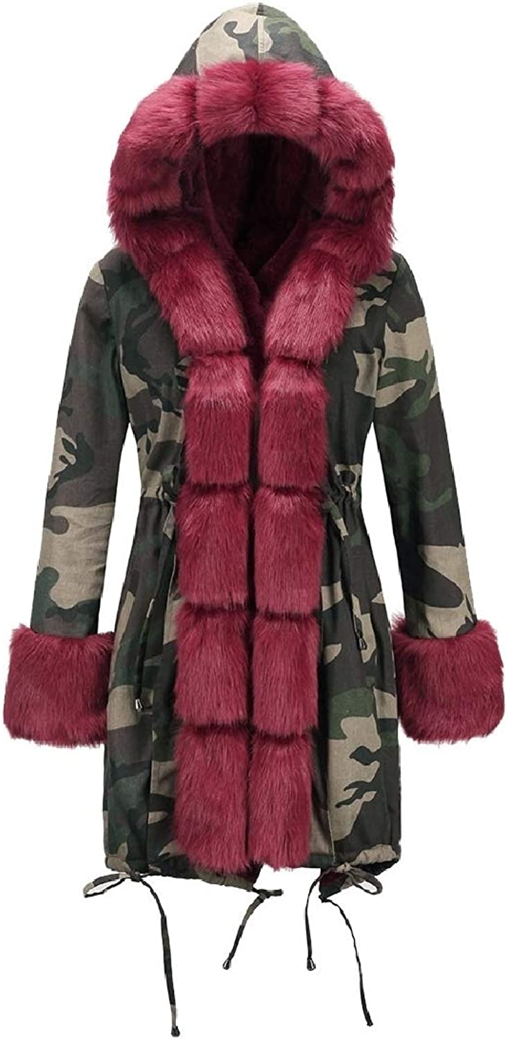 Maisicolis Women Fur Collar Warm Hooded Thickened Camo Padded Parka Coat