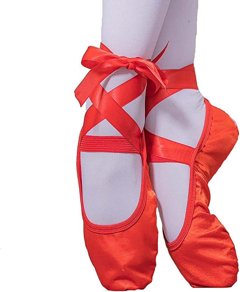 PINGZG Ballet Shoes Girls,Women Dance Slippers Gymnastics Yoga Shoes-with Ribbons Style -for Children,Adults,Kids and Ladies (Color : Red, Size : 35 EU)